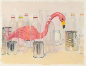 31 Pink Flamingo Nesting Among Commodity Ghoses, 2013, oil on board, 14 x 18